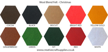 Wool Blend Felt Colour Collection - Christmas - 10 Sheets