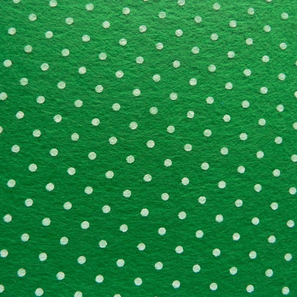 Patterned Felt - Dots - Green