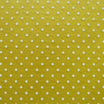 Acrylic Patterned Felt Sheet - Mini Dots - Yellow