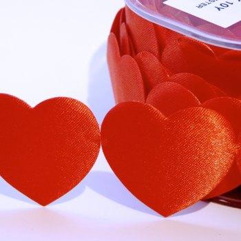 "Half Metre - 1.5"" Jumbo Satin Heart Trim - Red"