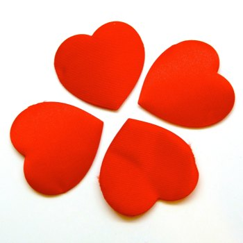 "Pack of 10 - 1.5"" Jumbo Satin Hearts - Red"