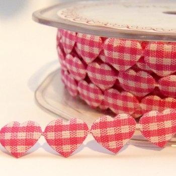 10mm Gingham Heart Trim - Fuchsia