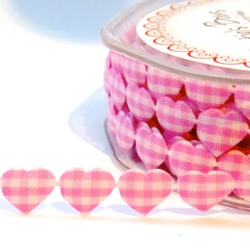 10mm Gingham Heart Trim - Pink