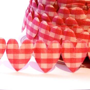 25mm Gingham Heart Trim - Fuchsia