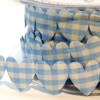 25mm Gingham Heart Trim - Light Blue