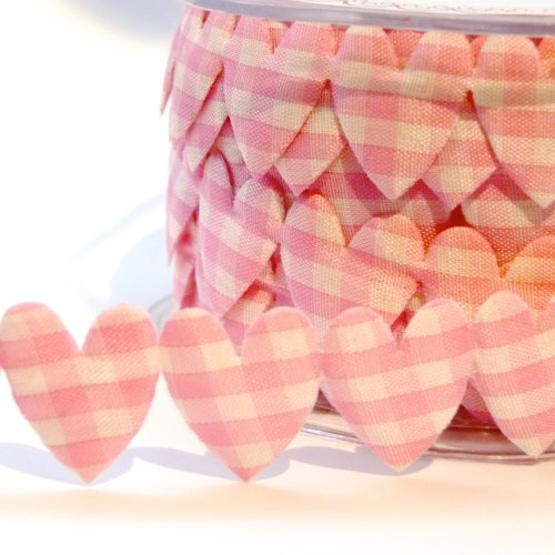 25mm Gingham Heart Trim - Pink