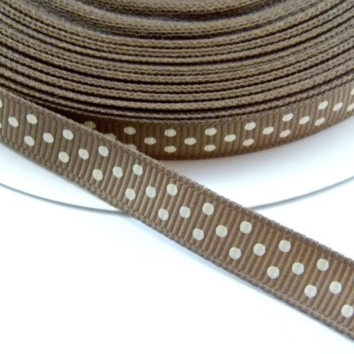 9mm Polka Dot Grosgrain Ribbon - Taupe