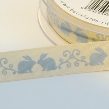 15mm wide Easter Rabbits Swirl Ribbon - Blue