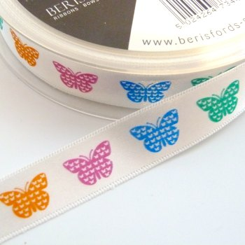 15mm wide Satin Butterflies Ribbon