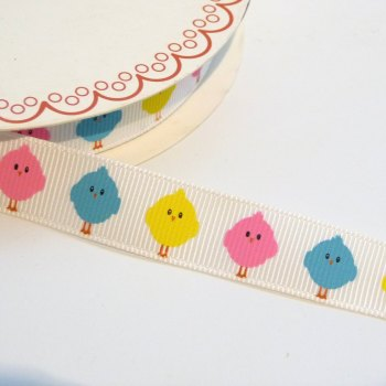 16mm wide Grosgrain Easter Chicks Ribbon
