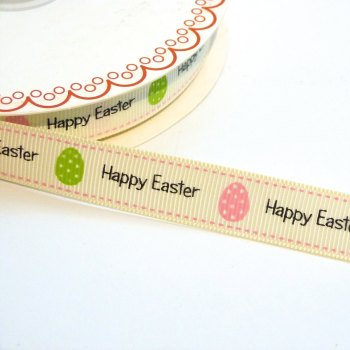 16mm wide Grosgrain Happy Easter Ribbon