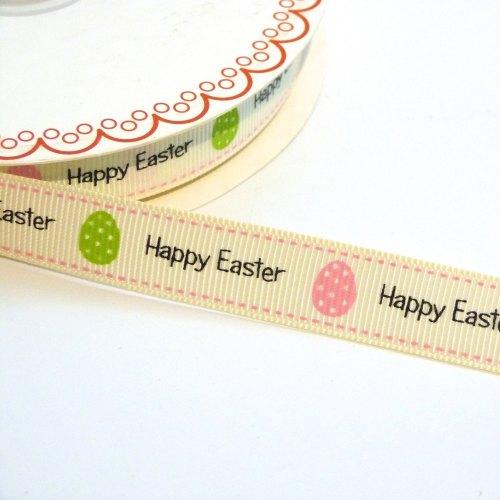 16mm wide Grosgrain Happy Easter Ribbon