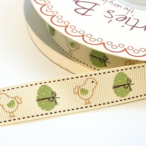 16mm wide Vintage Sage Chick & Egg Ribbon