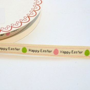 9mm wide Grosgrain Happy Easter Ribbon