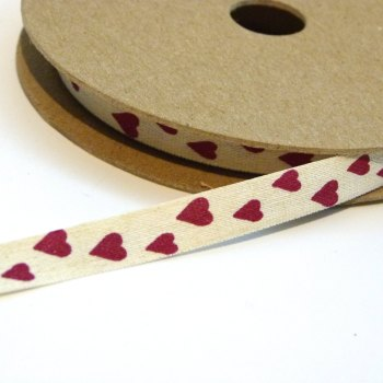 SALE 1 metre - 10mm Linen Heart Ribbon - Cream/Red