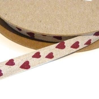 10mm Linen Heart Ribbon - Natural/Red