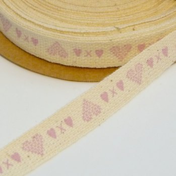 SALE 1 metre - 10mm Rustic Natural Heart Ribbon - Pink