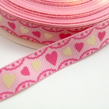 16mm Grosgrain Heart Frill Ribbon - Pink/Pink