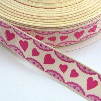 16mm Grosgrain Heart Frill Ribbon - White/Pink