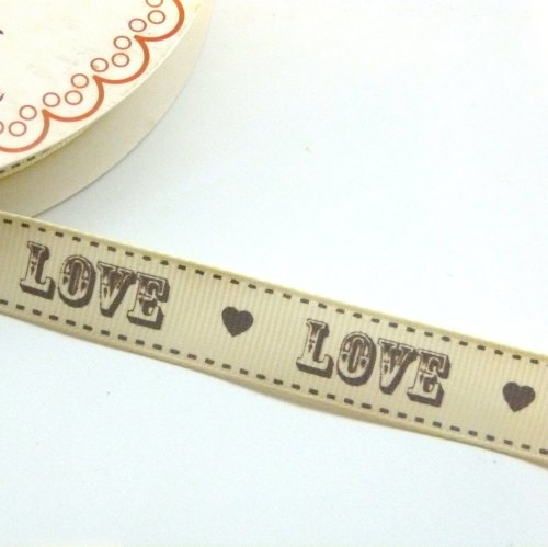 16mm Grosgrain LOVE Cream/Grey Ribbon