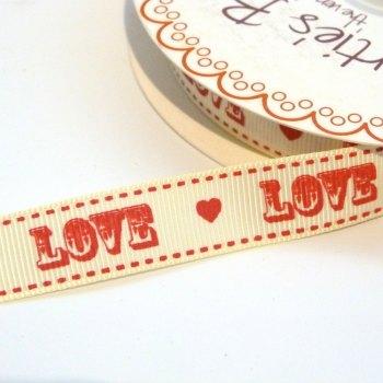 16mm Grosgrain LOVE Cream/Red Ribbon
