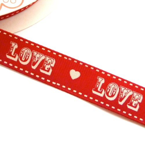 16mm Grosgrain LOVE Red/Cream Ribbon