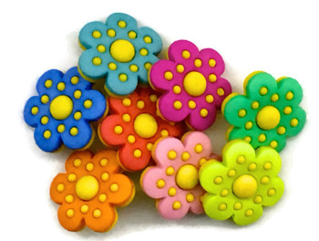 Dress It Up Button Pack - Polka Dot Flowers