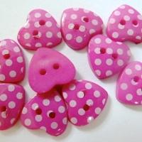 Pack of 10 - 15mm Polka Dot Heart Buttons - Fuchsia