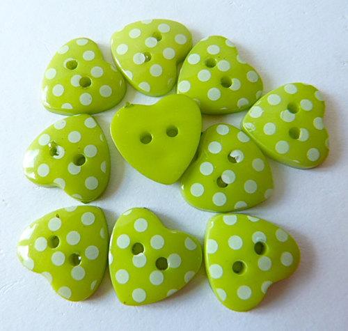 15mm Polka Dot Heart Buttons - Lime Green