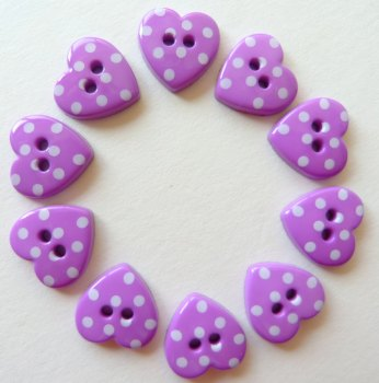 Pack of 10 - 15mm Polka Dot Heart Buttons - Purple