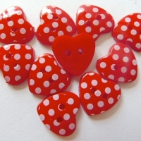 Pack of 10 - 15mm Polka Dot Heart Buttons - Red