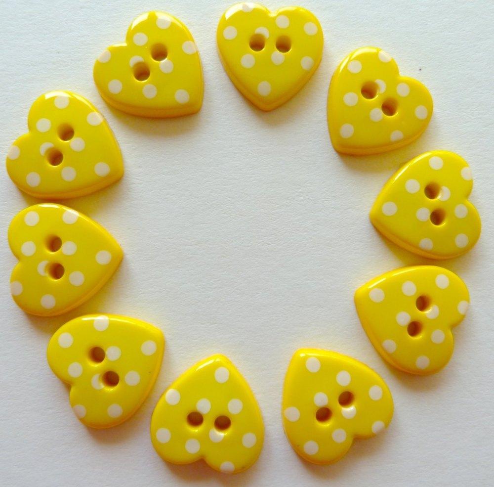 15mm Polka Dot Heart Buttons - Yellow