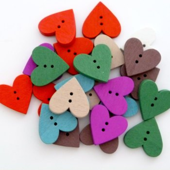 Pack of 20 - 23mm Wooden Heart Buttons