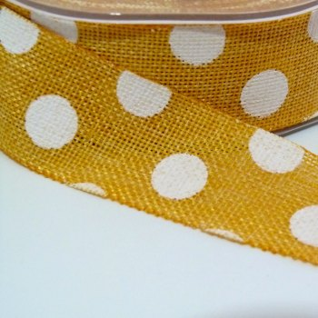 25mm wide Polka Dot Burlap Ribbon - Mustard