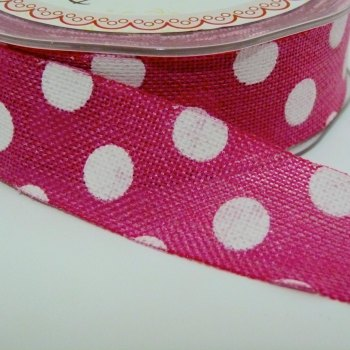 25mm wide Polka Dot Burlap Ribbon - Fuchsia