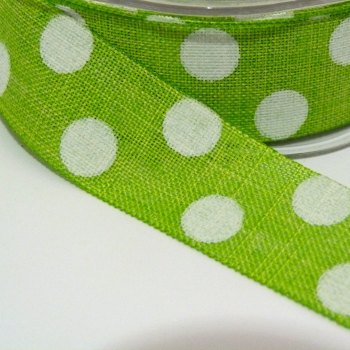 25mm wide Polka Dot Burlap Ribbon - Lime Green