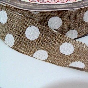 SALE 25mm wide Polka Dot Burlap Ribbon - Natural