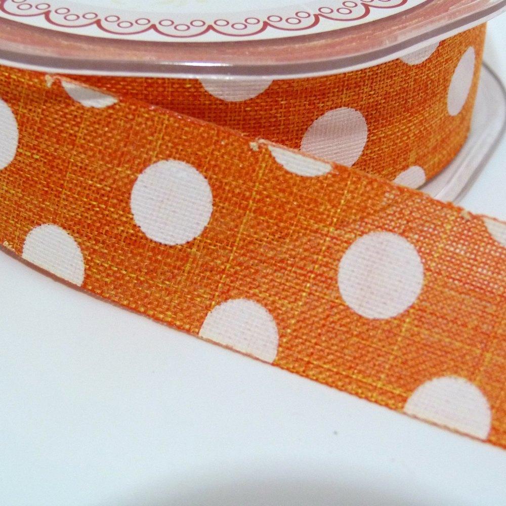 25mm wide Polka Dot Burlap Ribbon - Orange