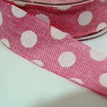 25mm wide Polka Dot Burlap Ribbon - Pink