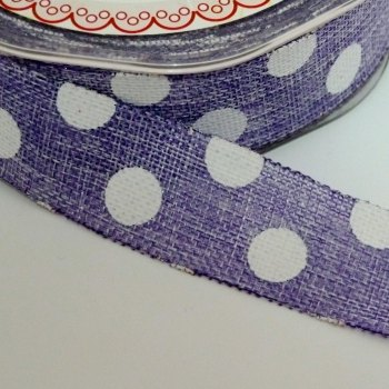 25mm wide Polka Dot Burlap Ribbon - Purple