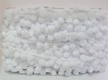 SALE 15mm Pom Pom Trim - White