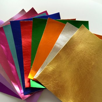 FELT BACKED Metallic Faux Leather Fabric