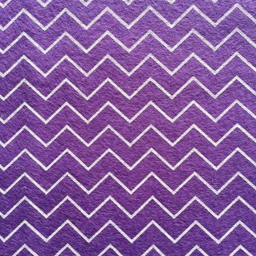 Patterned Felt - Chevrons - Purple