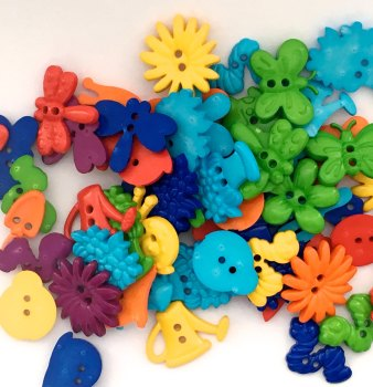 SALE 50g Garden Shaped Buttons - Brights