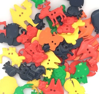 SALE 50g Animal Shaped Buttons - Primary Colours