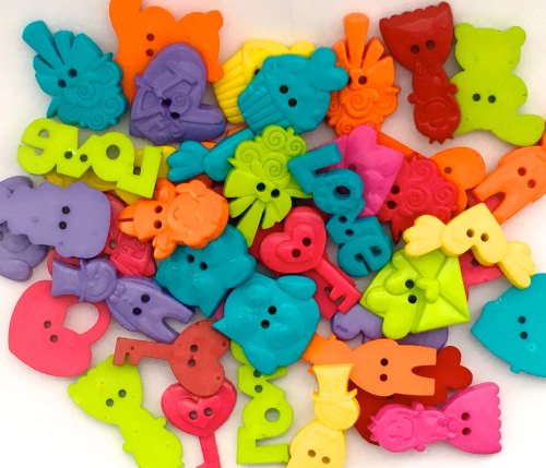 50g Wedding Shaped Buttons - Brights