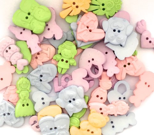 50g Wedding Shaped Buttons - Pastels