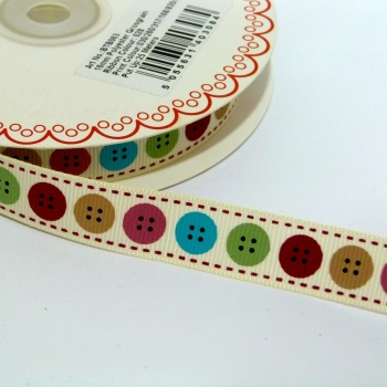 16mm wide Berties Bows Buttons Ribbon - Natural