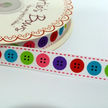 16mm wide Berties Bows Buttons Ribbon - Bright
