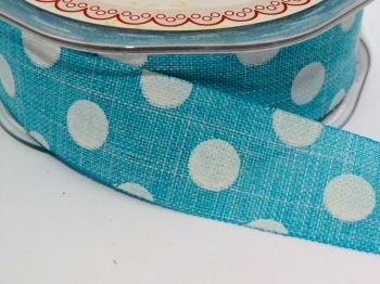 25mm wide Polka Dot Burlap Ribbon - Turquoise